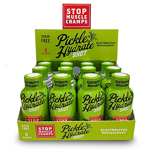 Pickle Hydrate Shot for Cramps Relief- Electrolyte Replacement Pickle Juice Drink   Extra Strength, Sugar-Free, Rehydration Pickle Brine Sports Drink with no Caffeine   Gluten-Free, 2.0 Ounces,12-Pack