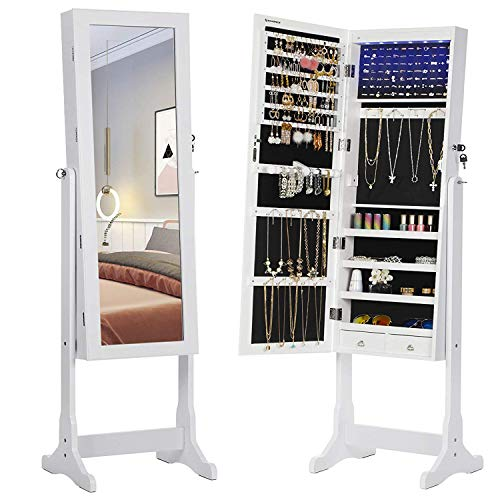 SONGMICS 6 LEDs Jewelry Cabinet Lockable Standing Mirrored Jewelry Armoire Organizer 2 Drawers White