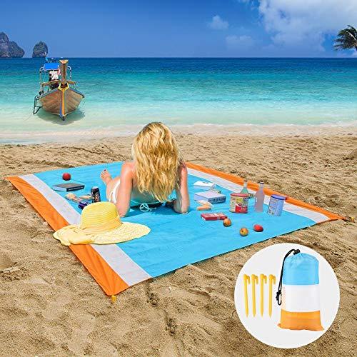 EEEKit Stranddecke Große 210*200cm Picknickdecke Wasserdicht, Picknickmatte im Freien mit 4 Pfählen für 4-8 Personen, schnell trocknende Hitzebeständigkeit, für Reisen, Camping, Wandern, Musikfestival
