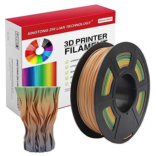 Filamento PLA 1,75 mm, Filamento PLA con effetto metallizzato, trasparente, legno, seta, marmo, per stampante 3D e penna 3D, Precisione dimensionale +/- 0,02 mm, bobina da 1 kg(Colore sfumato)