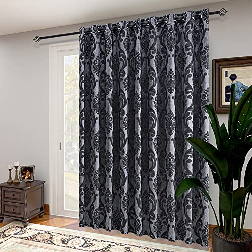 NAPEARL Patio Door Curtains for Sliding Glass Door, Gothic Style Door Window Curtains, Extra Wide Curtains for Room Divider, 1 Door Panel ( 10ft Wide x 8ft Tall, Black )