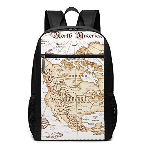 OMNVEQ Mochila Escolares Mapa América del Norte Estados Unidos, Mochila Tipo Casual para Niñas Niños Hombre Mujer Mochila para Ordenador Portátil Viaje