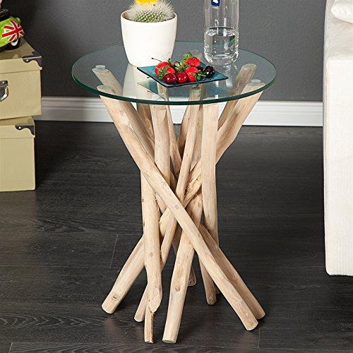 *Design Tisch Madeira Beistelltisch Wohnzimmertisch Glas und Teak Holz*
