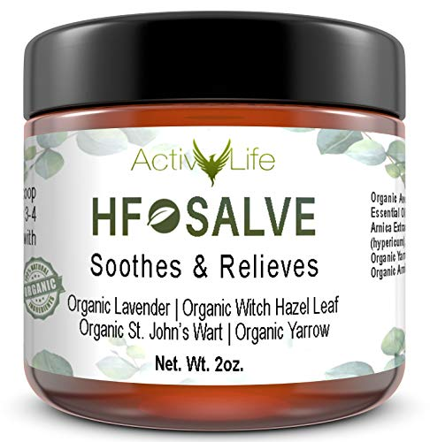 Organic HF Salve Emollient Cream | Treatment & Relief for Symptoms Associated with Hemorrhoids, Fissures, Post-Partum | Herbal Essential Oil Healing Formula Works Quickly to Relieve Pain & Itching