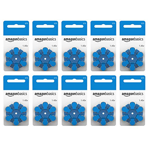 AmazonBasics 1.45 Volt Hearing Aid Batteries - Pack of 60, Size 675