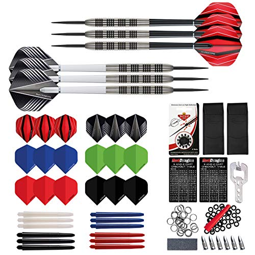 RED DRAGON Ultimate Darts Sammlung Stück Darts Set mit Flights, Shafts & Red Dragon Checkout Card