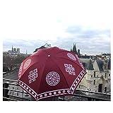 Wind & Rain Proof Tibetan Umbrella -Colourful & Portable Fashion (Burgundy)