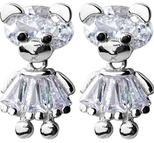 Lindos Aretes De Mujer Con Osito Vestido, Pendientes Antialérgicos De Plata De Ley S925, Diseño Elegante, Hermoso Empaque
