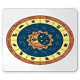 Alfombrilla de ratón Zodiac Moon, Horóscopo cursivo con Nombres Sun, Alfombrilla de Goma Rectangular Antideslizante, Tamaño estándar, Multico blancolor