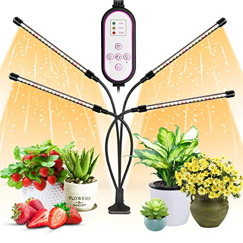 WOLEZEK Pflanzenlampe LED,Pflanzenlicht,80 LEDs Pflanzenleuchte 3000K 5000K 660nm Wachsen licht Vollspektrum für Zimmerpflanzen mit Zeitschaltuhr,10 Arten von Helligkeit&3 Lichter Modi für Gemüse