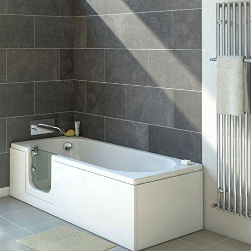 Senioren Badewanne mit Tür CASCADE 150x70 cm L komplett mit Schürze und Ablauf