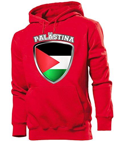 love-all-my-shirts Fussball Fanhoodie Palästina Wappen 5537 Männer Herren Hoodie Pulli Kapuzen Pullover Fanartikel Rot M
