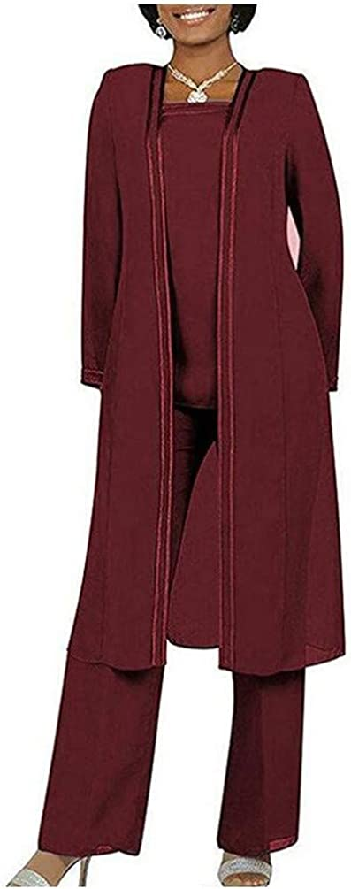 Women's Same day shipping 3 PC Groom Mother's Outfits Chiffon Suits Pants Wedd Purchase for