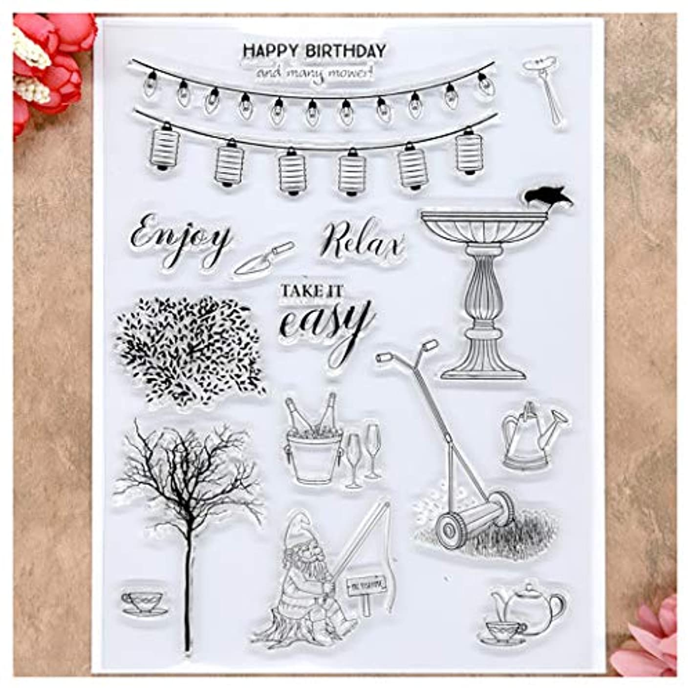 Kwan Crafts Happy Birthday Enjoy Relax Party Light Clear Stamps for Card Making Decoration and DIY Scrapbooking