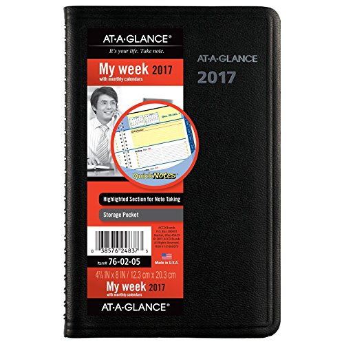 "AT-A-GLANCE Weekly / Monthly Appointment Book / Planner 2017, QuickNotes, 4-7/8 x 8"", Black (76-02-05)"