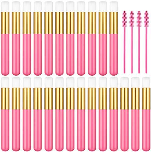 30 Pieces Lash Brush Lash Shampoo Brush Eyelash Extension Cleaning Brush Nose Brushes Cleaner Lash Cleansing Brush Cleanser Washing Peel Off Blackhead with 4 Eyelash Brushes (Rose Red)
