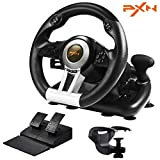 PXN V3III PC Racing Wheel,Experience Left and Right Dual Vibration Motors and 180° Spin Racing Game Steering Wheel with Linear Pedals/Accelerator Brake for PC/PS4/Xbox One/Nintendo Switch Host(Black)
