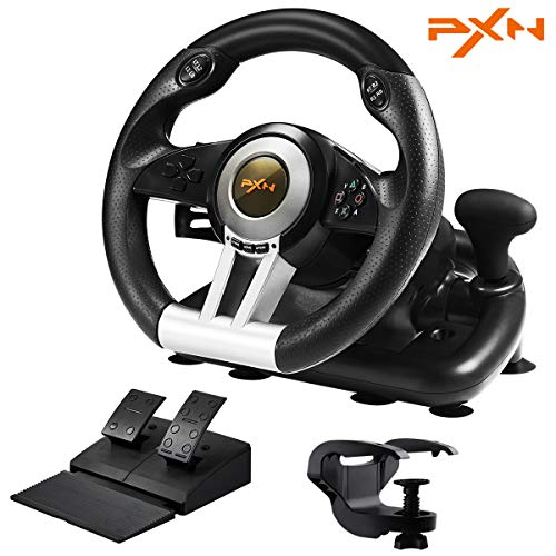 PXN V3III PS4 Gameing Racing Wheel,180° PC Steering Wheel and Dual Motors Vibration,PS4 Racing Wheel with Linear Pedal/Accelerator Brake,for PC/PS4/Xbox One/Xbox Series X|S/Switch(Black)