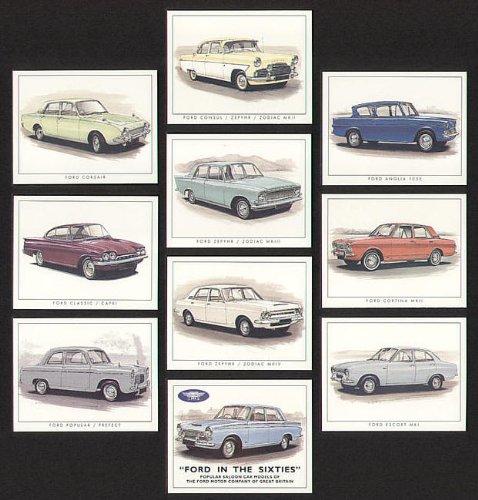 Ford Classic Cars in the 1960s - Cortina MK1, Consul / Zepyhr / Zodiac Mk2, Anglia 105E, Corsair 1963, Zepyhr / Zodiac Mk3, Cortina Mk2, Zepyhr / Zodiac Mk4, Escort Mk1, Popular and Prefect 100E & 107E - Collectors Cards