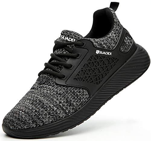 SUADEX グレー安全靴スニ一カ一 あんぜん靴 軽量 作業靴スニ一カ一 工事現場 通気性 鋼先芯 ケブラー 耐摩耗 防刺 耐滑 ワークシューズ セーフティーシューズ