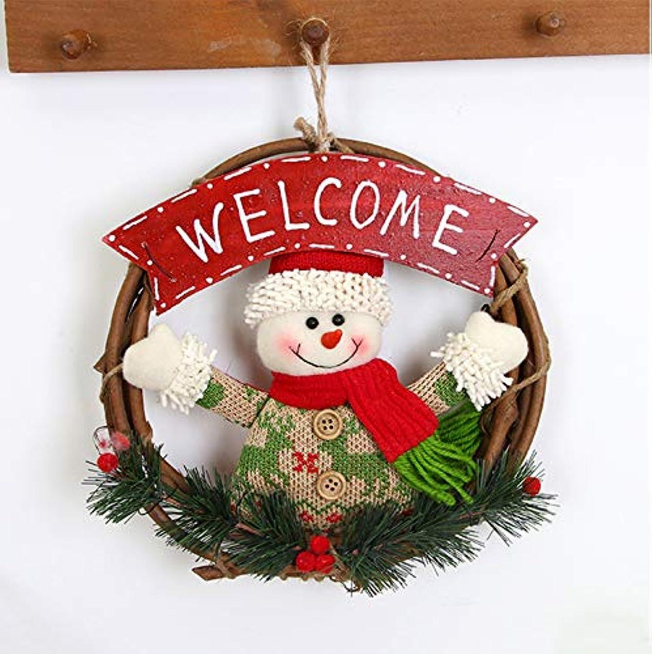 人工平和的無知クリスマス用リース クリスマス花輪 サンタクロース 玄関 サンタ ドア 壁 飾りプレゼント 手作り 装飾輪 祝日 装飾 飾り物 おしゃれ (スノーマン)