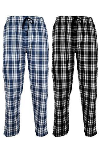 Andrew Scott Men's 100% Cotton Super Soft Flannel Plaid Pajama Pants- 2 Pack (2 Pack- Assorted Classic Plaids, XX-Large)