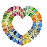QICI hilo de bordar 100 madejas bordado punto de cruz pulsera de cadena multi-color premium | punto de cruz hilo (100 Pack)