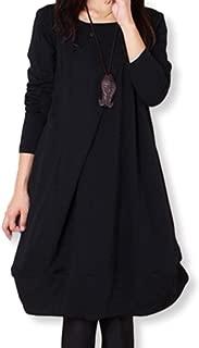 -eriira- Ray 10月号掲載 シンプル 着痩せ ワンピース 長袖 4色展開(黒、灰、茶、カーキ) M~XXL