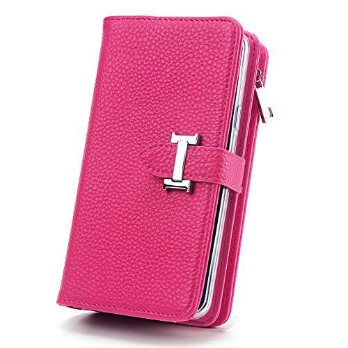 HARRMS portemonnee met mobiele telefoonhoes telefoonvak compatibel met Samsung Galaxy S9 Plus met creditcardvakje geldklemmen leren hoes magneet beschermhoesje, dames/heren