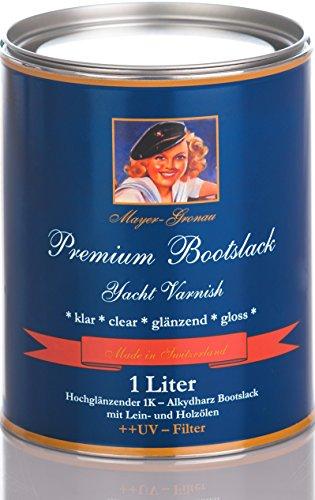 1 Liter 1K - Premium BOOTSLACK KLAR HOCHGLÄNZEND MIT MAX. UV-Filter