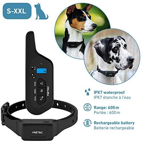 PetTec opvoedingshalsband met afstandsbediening || 16 trillingsniveaus + toonsignaal || 600m reikwijdte, herlaadbare accu, antiblaf halsband & trainingshalsband voor kleine en grote honden, waterdicht overeenkomstig IPX7