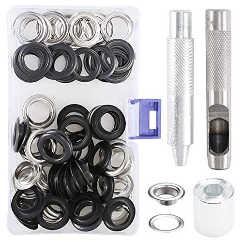 Occhielli per Teloni ManLee 100 PCS Occhiello Strumento Kit Occhielli in Metallo 14mm Occhielli Metallici per Telo Teloni Tende Occhiello Tondo Passacavo per Borsa con Strumenti Installazioni (14mm)