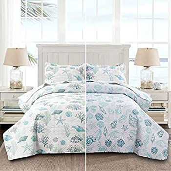 Reversible Coastal Beach Theme Quilt Set Queen/Full Size Ocean Coral Bedding Seaweed Bedspread Ocean Life Blue Green White Shell Starfish Coverlet Summer Lightweight Beach Daybed Sets