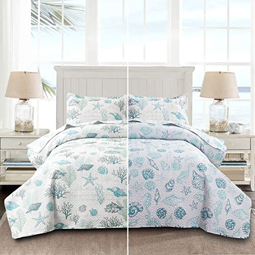 Oliven Reversible Coastal Beach Theme Quilt Set Twin Size Ocean Coral Bedding Seaweed Bedspread Ocean Life Blue Green White Shell Starfish Coverlet Summer Lightweight Beach Daybed Sets