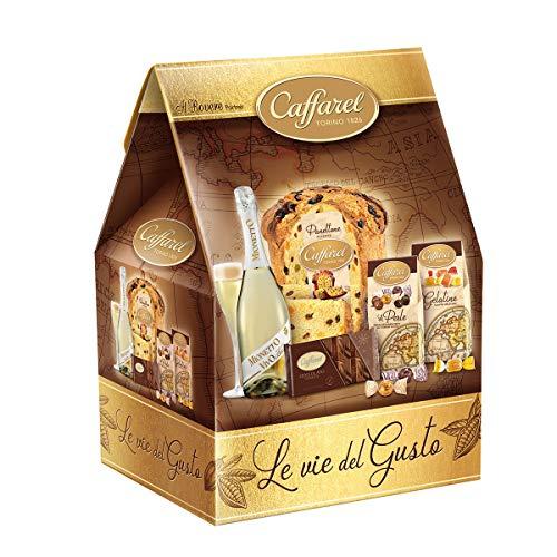 Cesto natalizio' le vie del gusto' con pandoro-prosecco mionetto-cioccolato-tavoletta di cioccolato fondente-scatola gelatine alla frutta