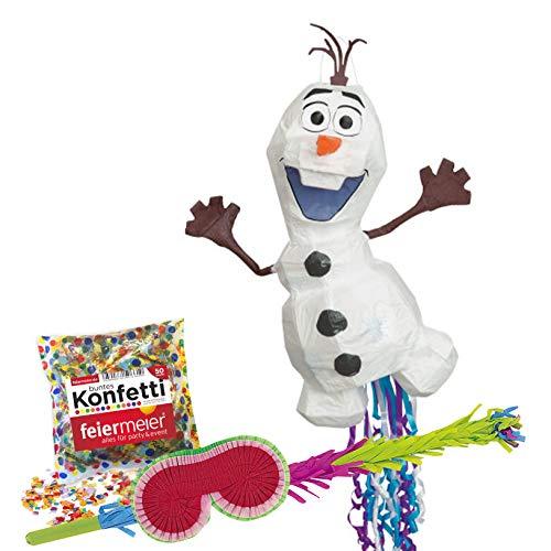 Pinata-Set: Olaf Disney Pinata + Schläger + Maske + Konfetti - für Eisprinzessin Party, Kindergeburtstag, Kinder-Feiern, Geburtstage,Olaf, Schneemann, Frozen, Überraschung, Partyspiel