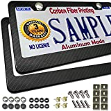 License Plate Frame Carbon Fiber- Black Aluminum Plate Frame Printed Carbon Pattern with Stainless Steel Plate Screws and Black & Chrome Caps