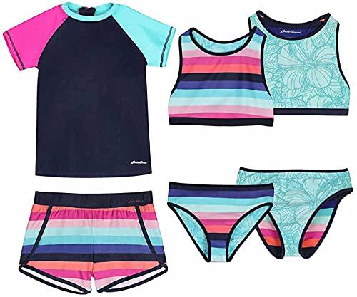 Eddie Bauer Girls 4 Piece Reversible Swimsuit Set (Peacoat, Medium 10/12)