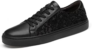 XUJW-Shoes, Fashion Sneaker for Men Sports Shoes Lace Up Style OX Leather Soft Breathable Star Pattern Durable Comfortable Walking Shopping Travel Driving (Color : Black, Size : 10.5 UK)