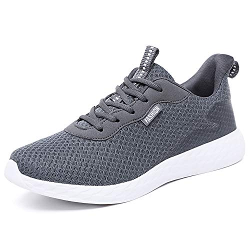JIANKE Leichte Laufschuhe Herren Atmungsaktiv Turnschuhe Casual Sportschuhe Running Outdoor Sneakers Dunkelgrau 42 EU(Etikettengröße 43)