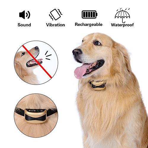 Mbnbttb Dog Bark Collar Anti Bark Collar Humane No Bark Collar with Beep Sound, Vibration and Rechargeable for Small Medium Large Dogs Best Stop Barking Collar Waterproof