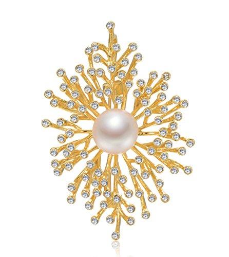 Epinki Dorado Broche de Mujer Algen Flores Broche de Perlas Vestido de Noche Camisa Croches Pin Oro(12-13mm) con Perla