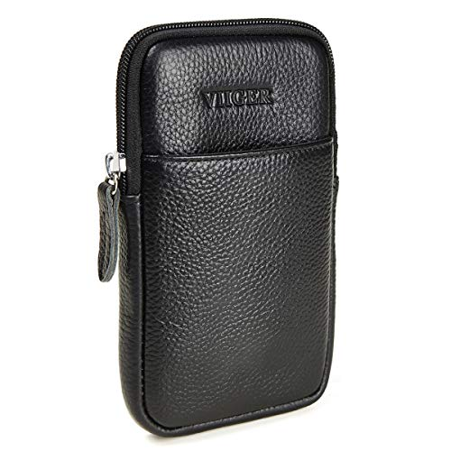 VIIGER Vertical Leather Cell Phone Pouch iPhone 11 Pro Max Belt Case Smartphone Holster Belt Loop Pouch Bag Phone Belt Holder iPhone Xs Max Holster Case w Belt Clip for iPhone 7 Plus 8 Plus 6s Plus XR