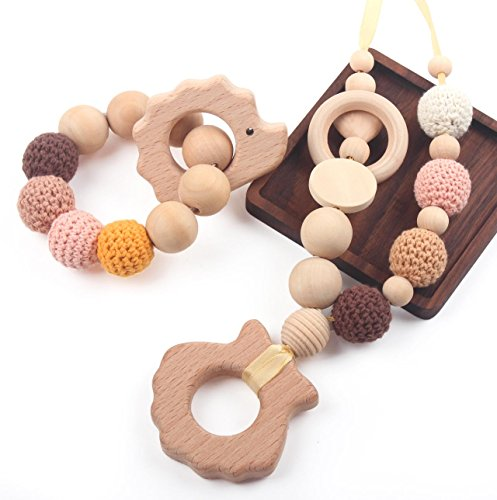 Baby Teething Necklace for Mom and Teether Bracelet for Babies Pack of 2 Perfect 100% BPA Free, Hedgehog and Shell