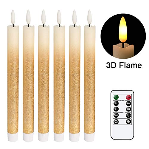 DRomance LED Flameless Taper Candles Battery Operated with Remote and Timer, Set of 6 Real Wax Warm Light 3D Wick Flickering Window Candles 0.78' x 9.64' Christmas Home Decoration(Gold Gradient)
