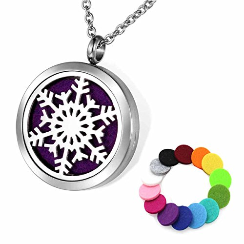 """Aromatherapy Essential Oil Diffuser Necklace, Christmas Snowflake Stainless Steel 30mm Locket Pendant 24"""" Chain, 14 Refill Pads"""