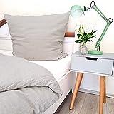 leinenlieb®: Biancheria da letto in 100% lino grigio (copripiumino: 135 x 200 cm e federa 80 x 80 cm), in puro lino di alta qualità