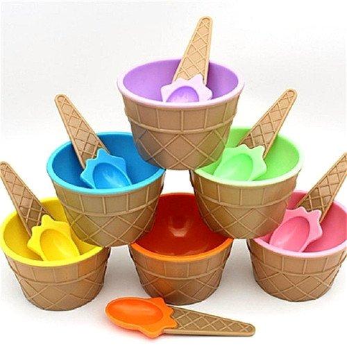 12 PCS Tazón de helado con cuchara Cute plástico ecológico de postre...