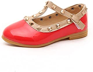 Warming Toddler Little Kid Baby Girl Studded T-Strap Flat Shoes for Child