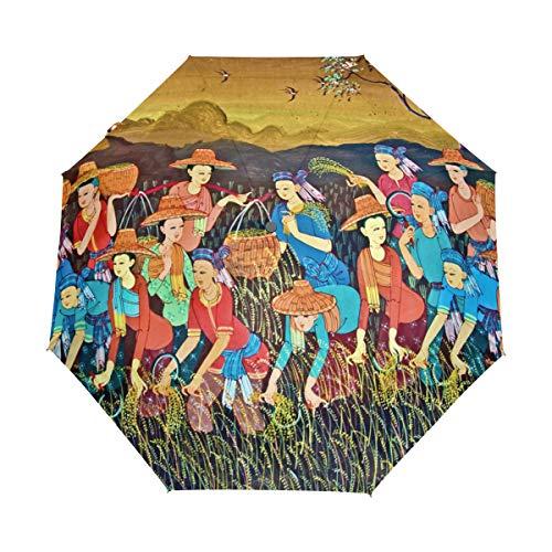 Faltbarer Automatikschirm Malerei Kunst Thai Stil Kompakt Reise Sonnenschirme Sonnenschirm Winddicht Regenfest mit schwarzer Anti-UV-Beschichtung
